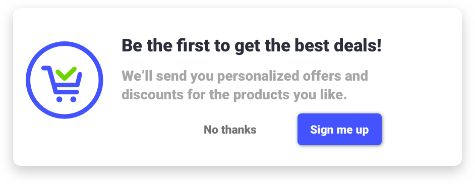 Example opt-in for push notifications on eCommerce websites