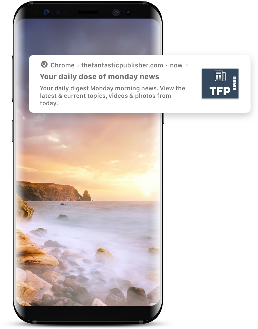 Chrome web push notification preview on mobile