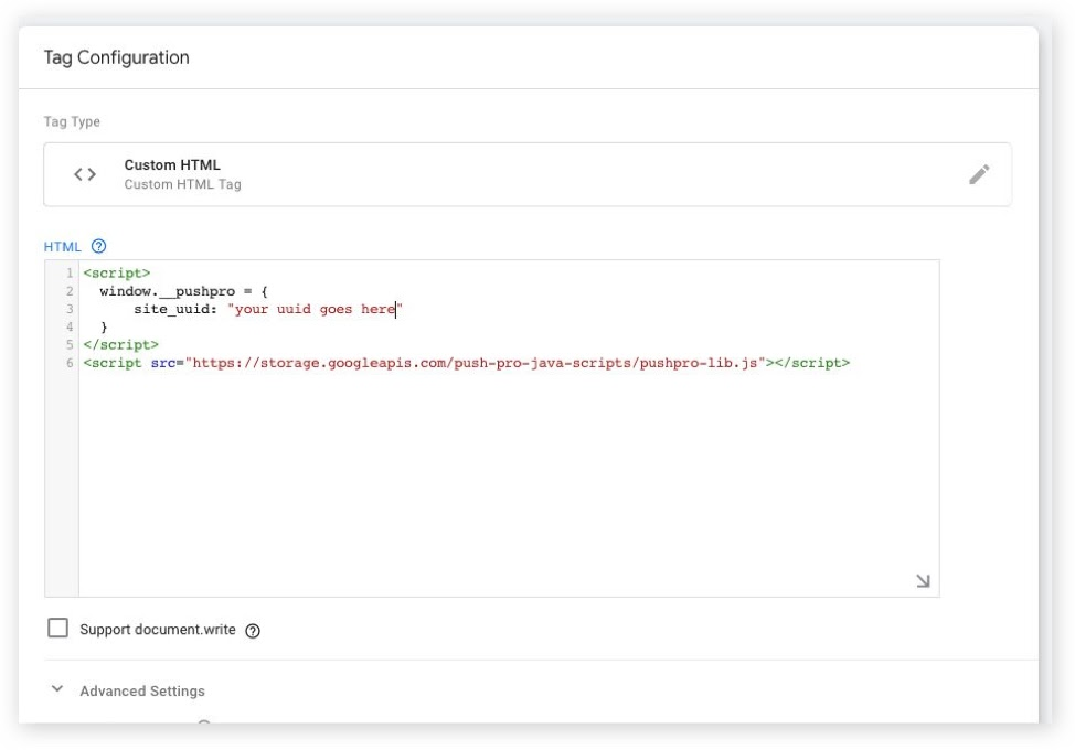 Screenshot of Google Tag Manager where you should paste the PushPro code snippet