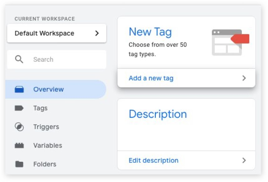 Screenshot of Google Tag Manager overview