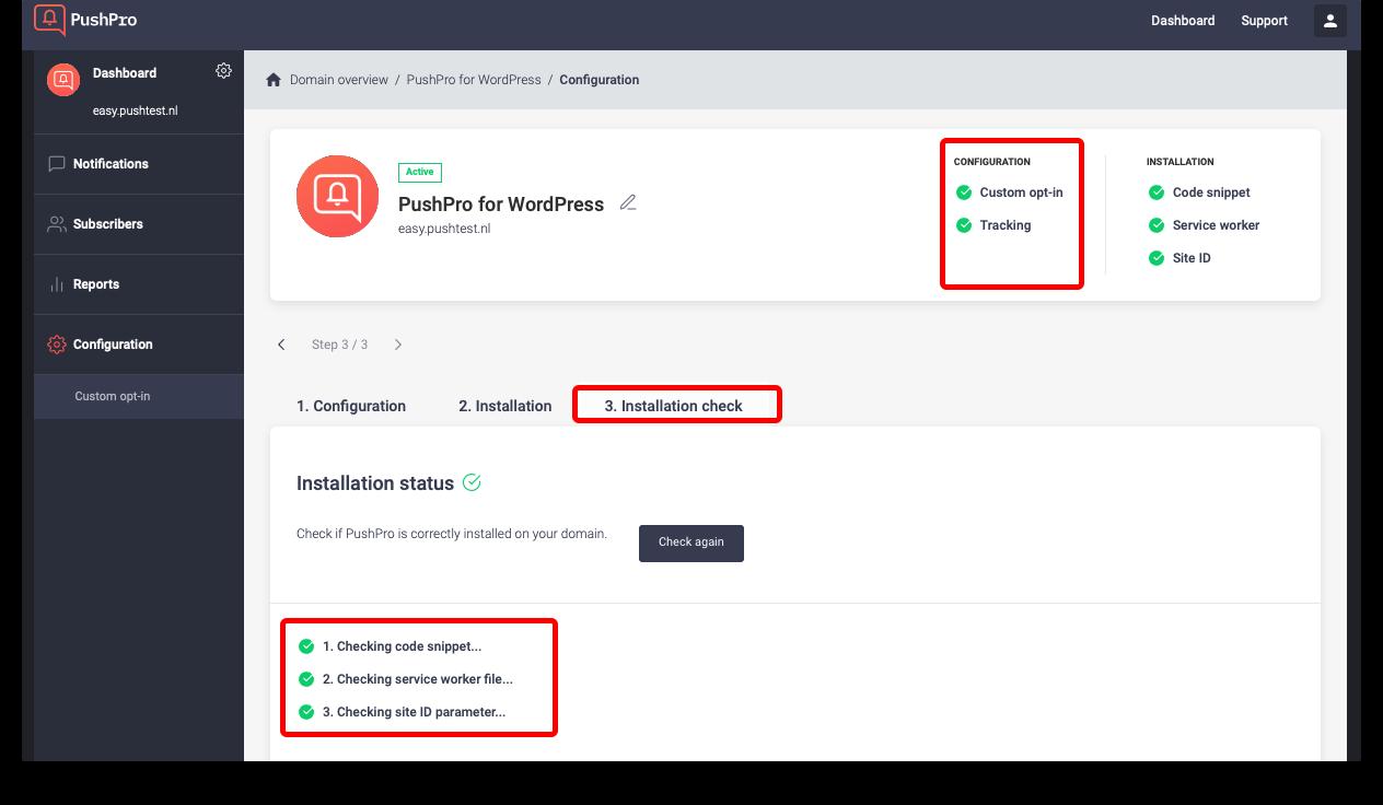 Screenshot of installation check in the PushPro Portal