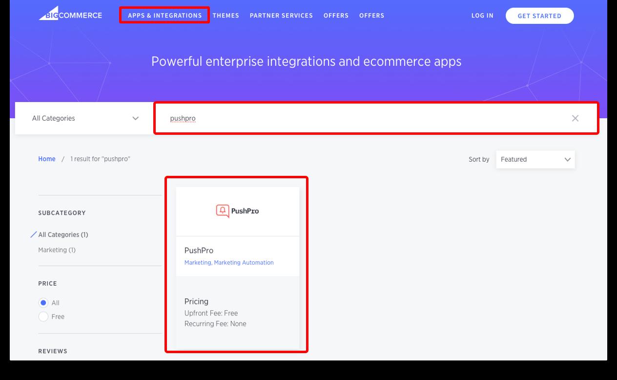 Screenshot of PushPro plugin in BigCommerce CMS