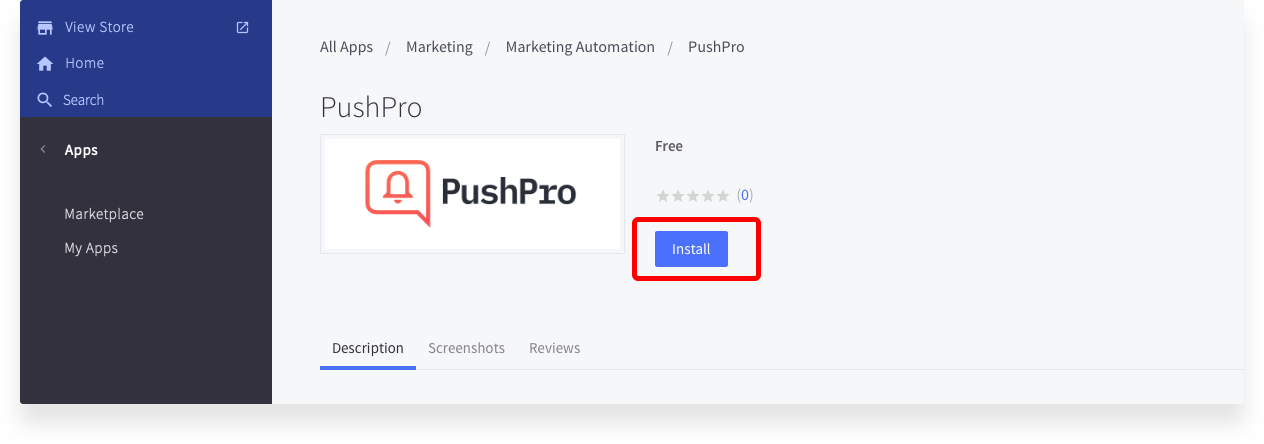 Screenshot of how to install PushPro plugin in BigCommerce