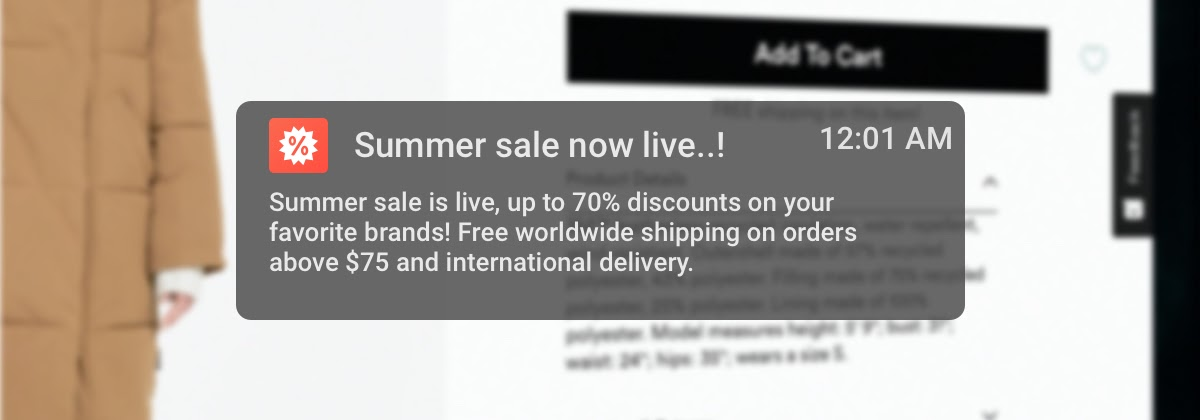 Example notification of a push notification used by ecommerce businesses to promote sales