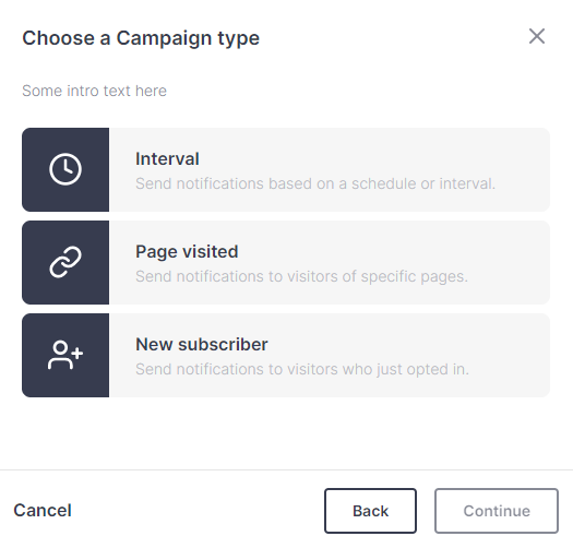 Screenshot of campaign type options in the PushPro portal