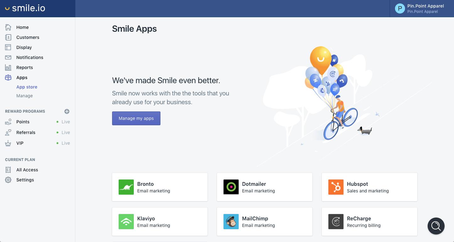 Screenshot of Smile.io dashboard BigCommerce App