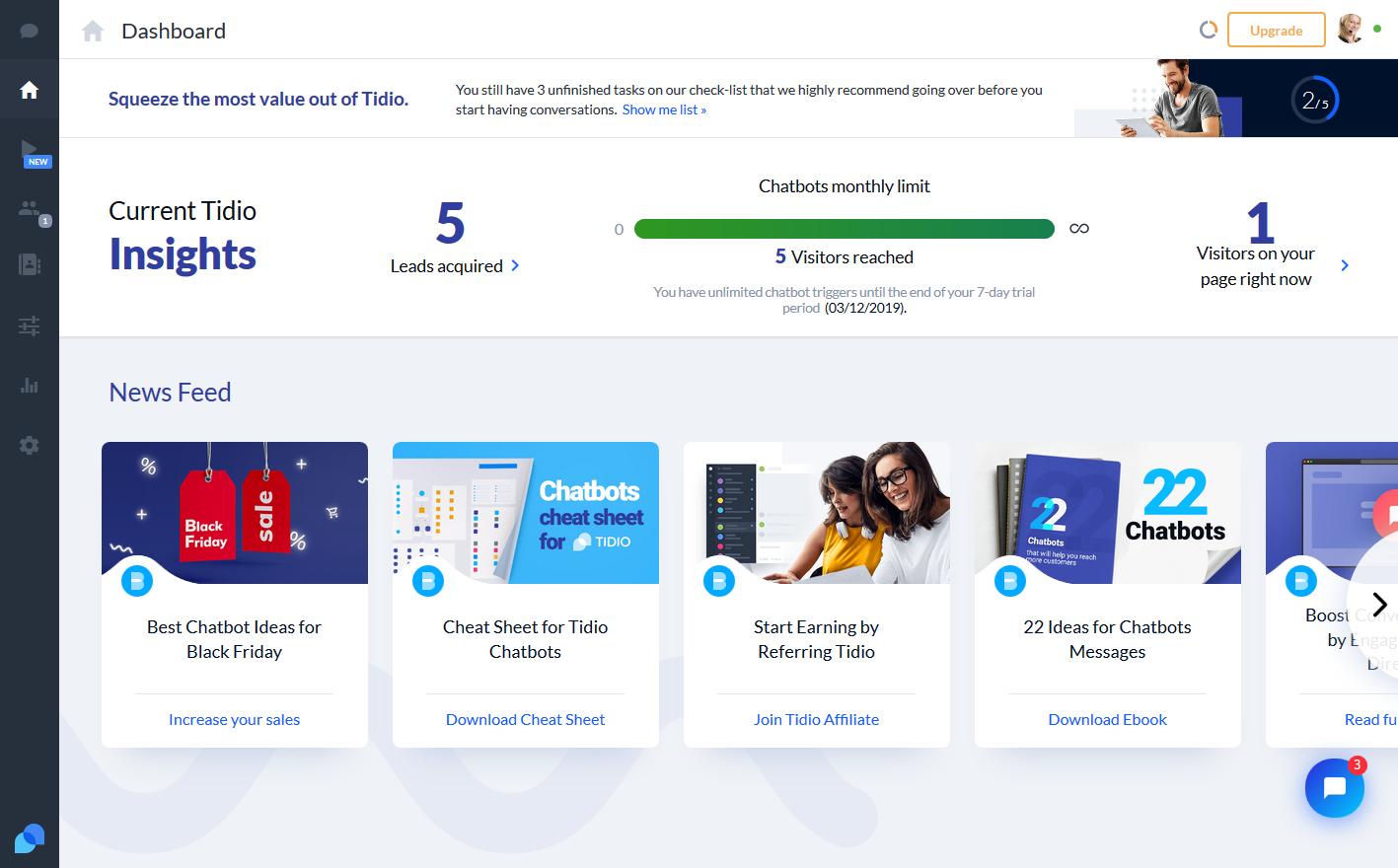 Screenshot of Tidio dashboard BigCommerce App