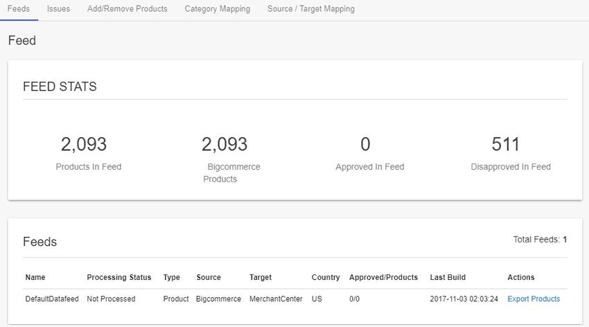 Screenshot of Statistics Google Shopping