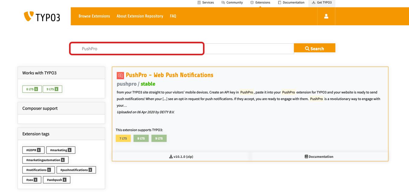 Screenshot of PushPro plugin within TYPO3 CMS