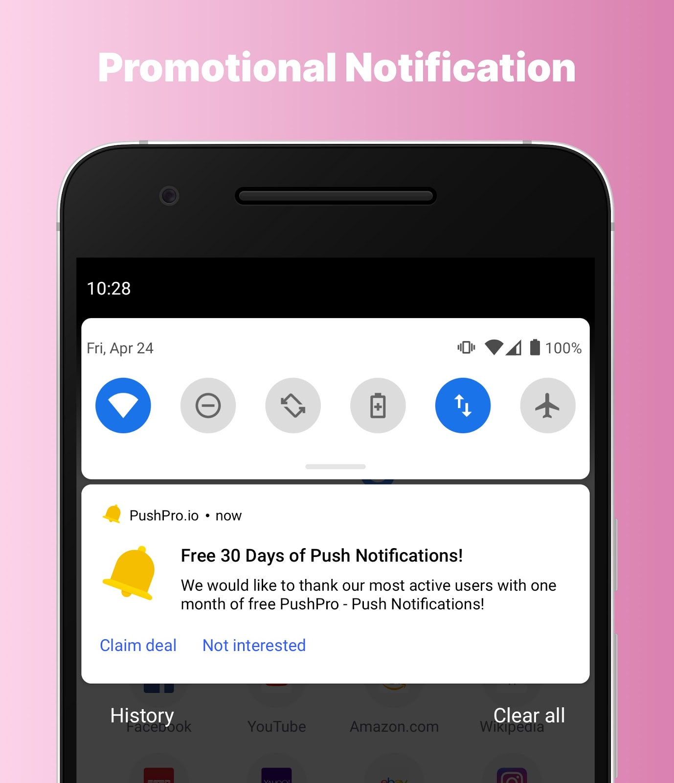 Example of a promotional push notification