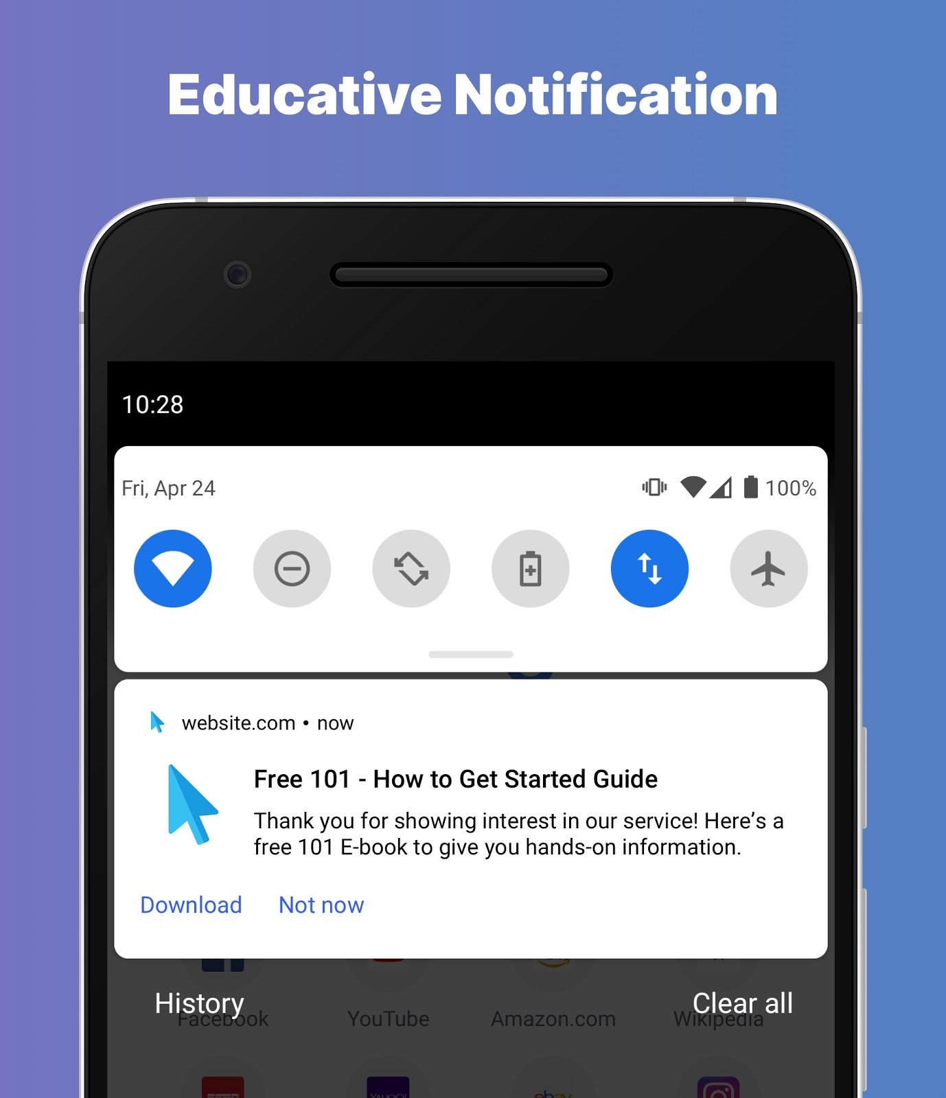 Example of a educative push notification