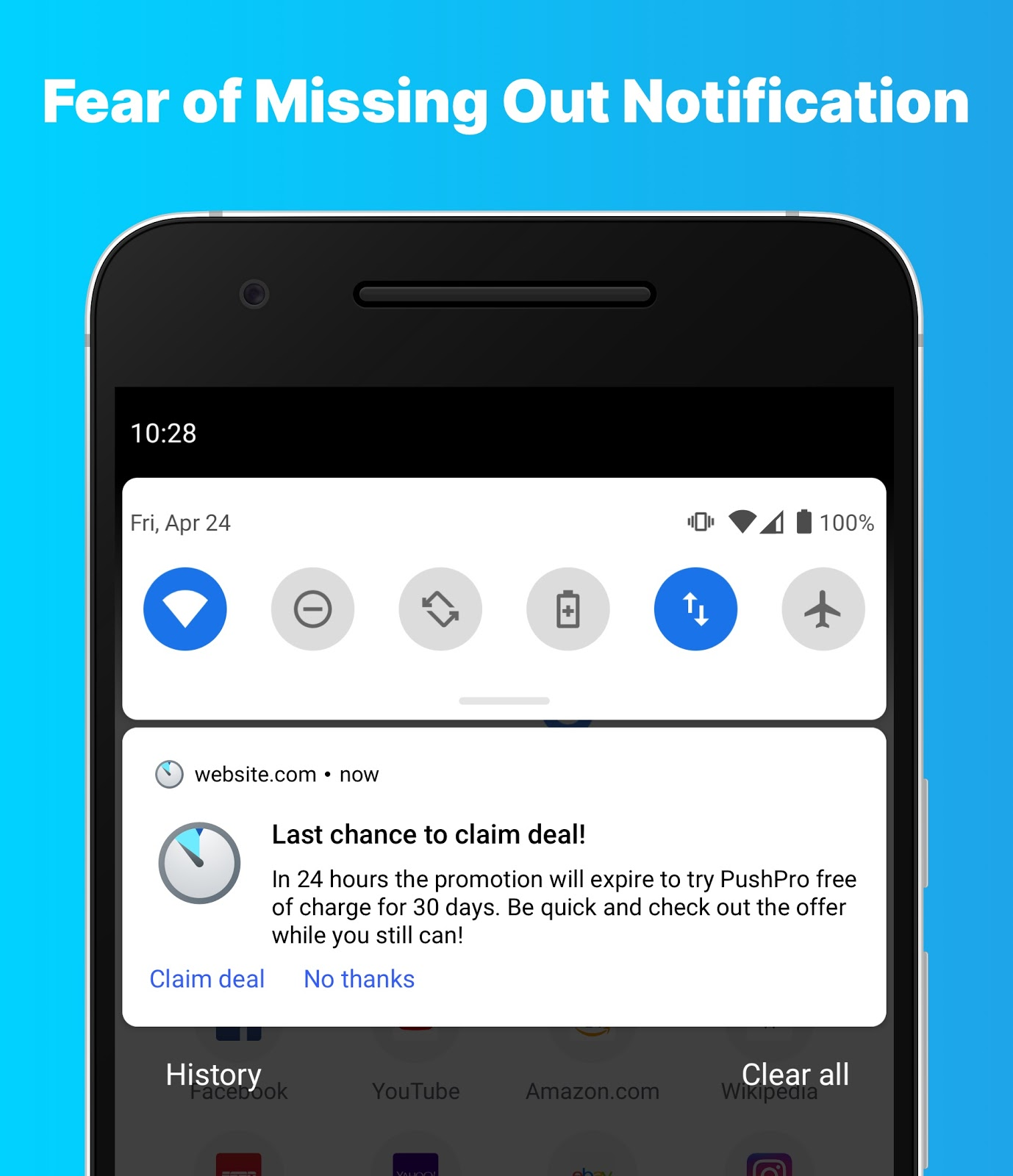 Example of a Fear of Missing Out push notification