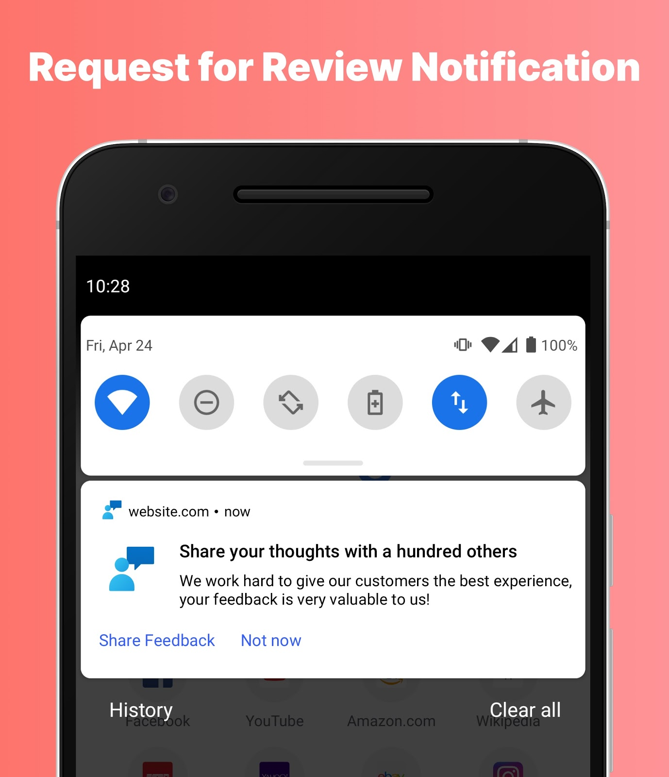 Example of a request for review push notification