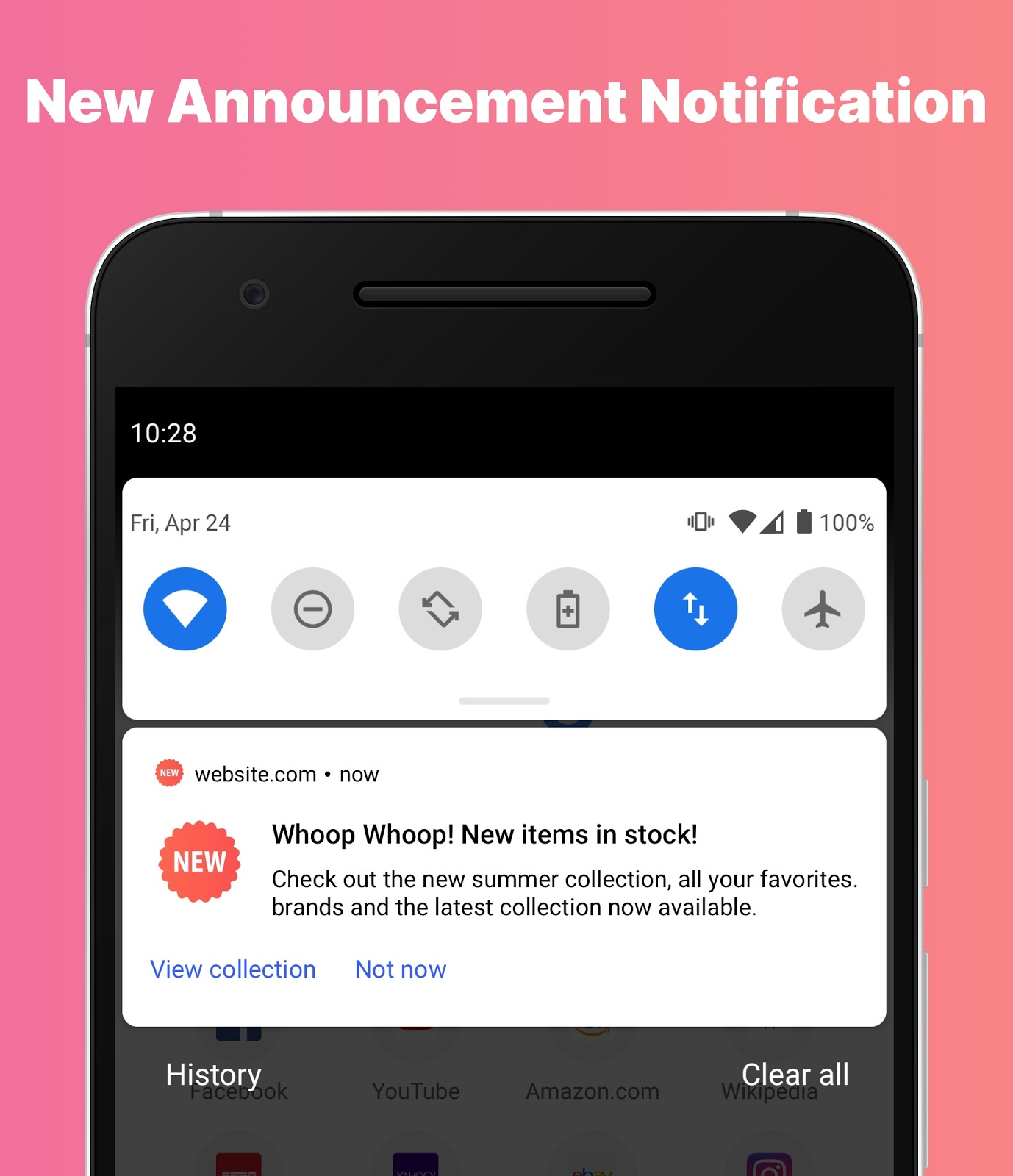Example of a new announcement push notification