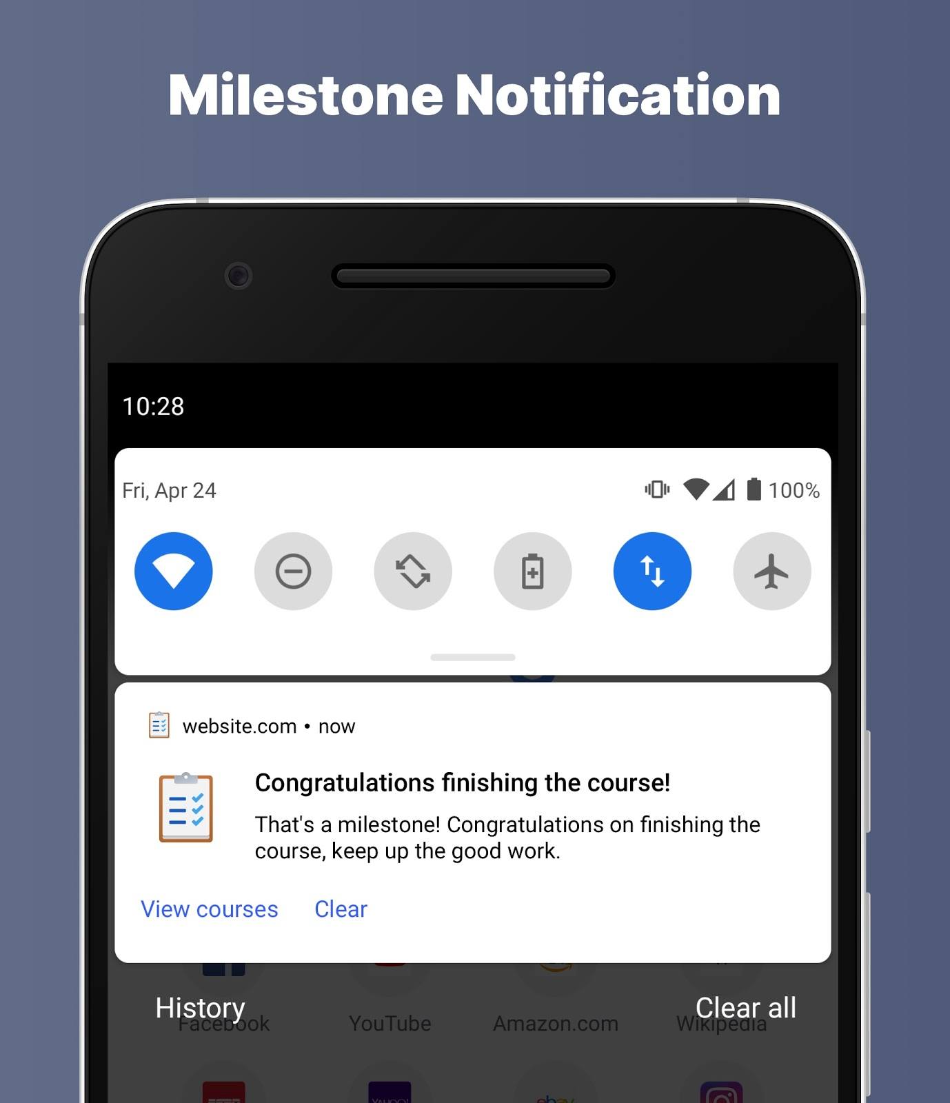 Example of a milestone push notification