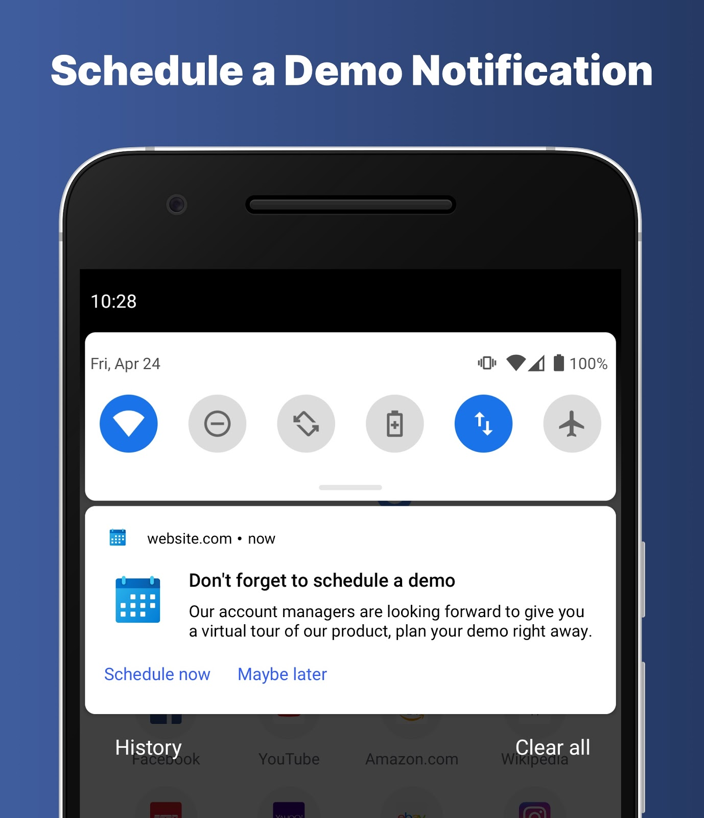 Example of a schedule a demo push notification