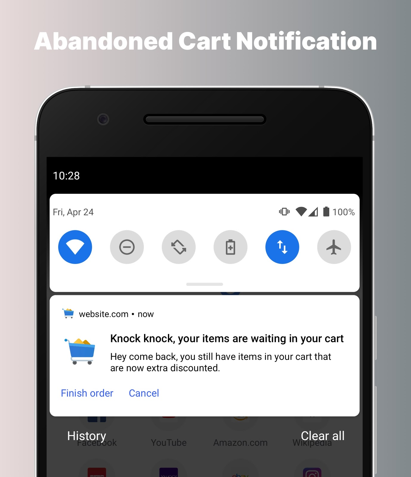 Example of an abandoned cart push notification