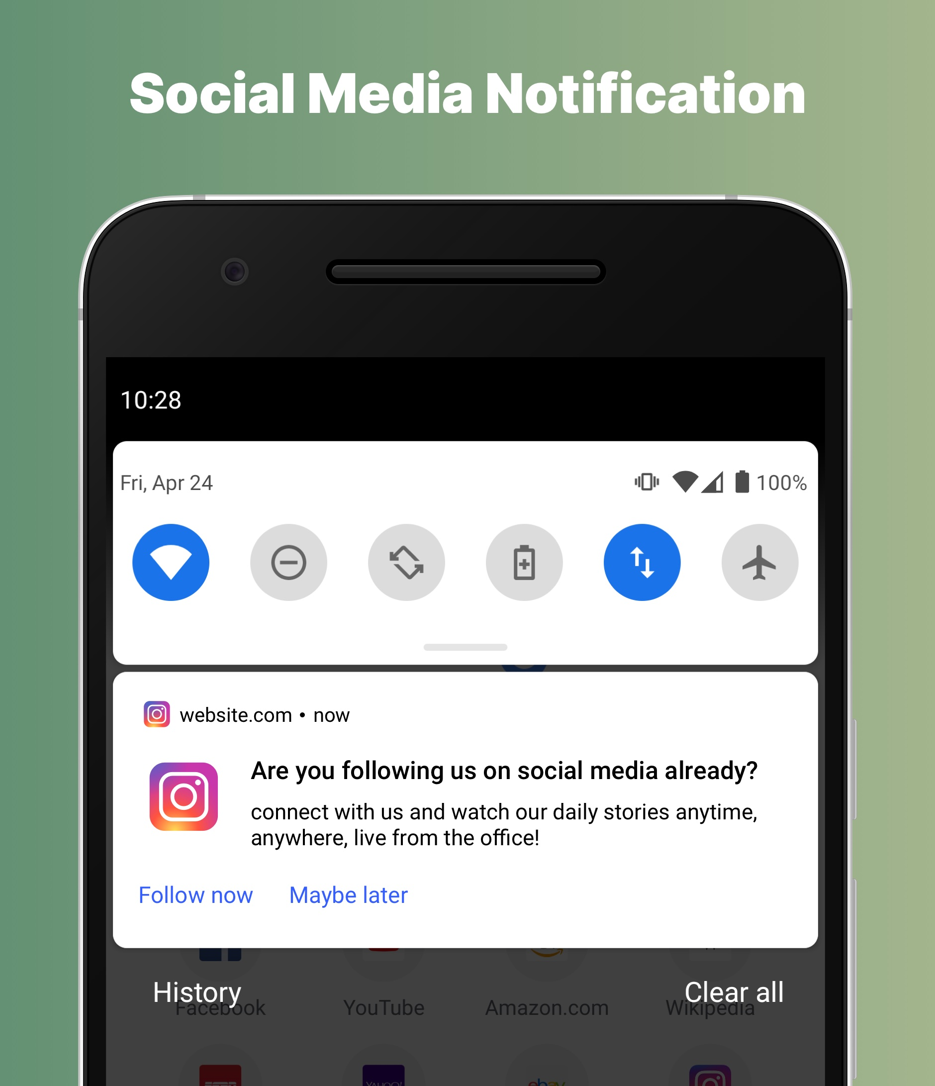 Chrome social media web push notification preview on mobile