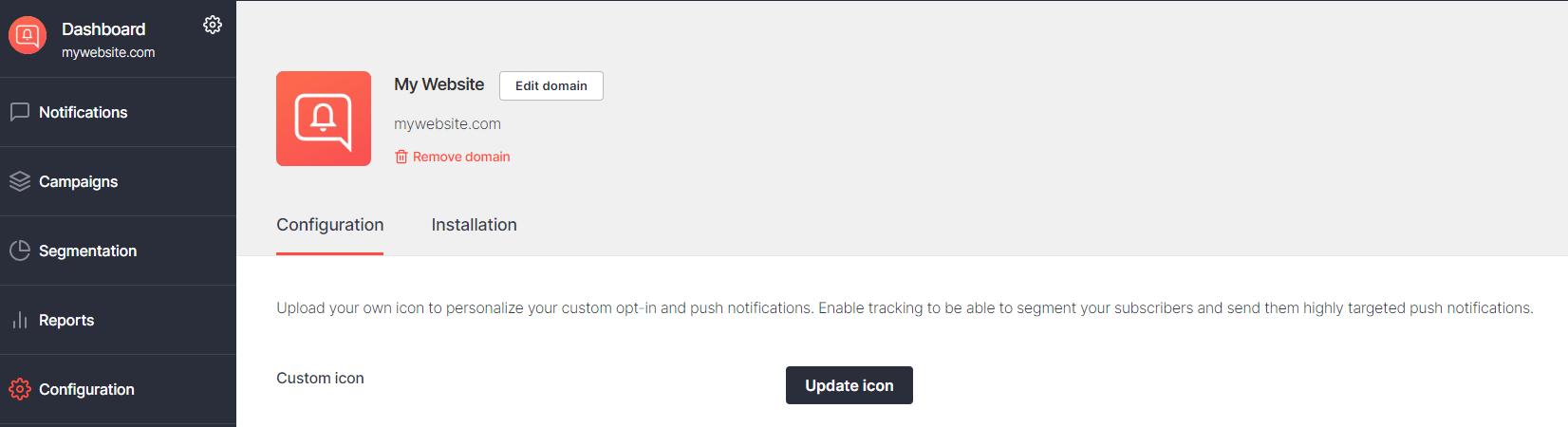 Screenshot of domain edit settings in PushPro portal