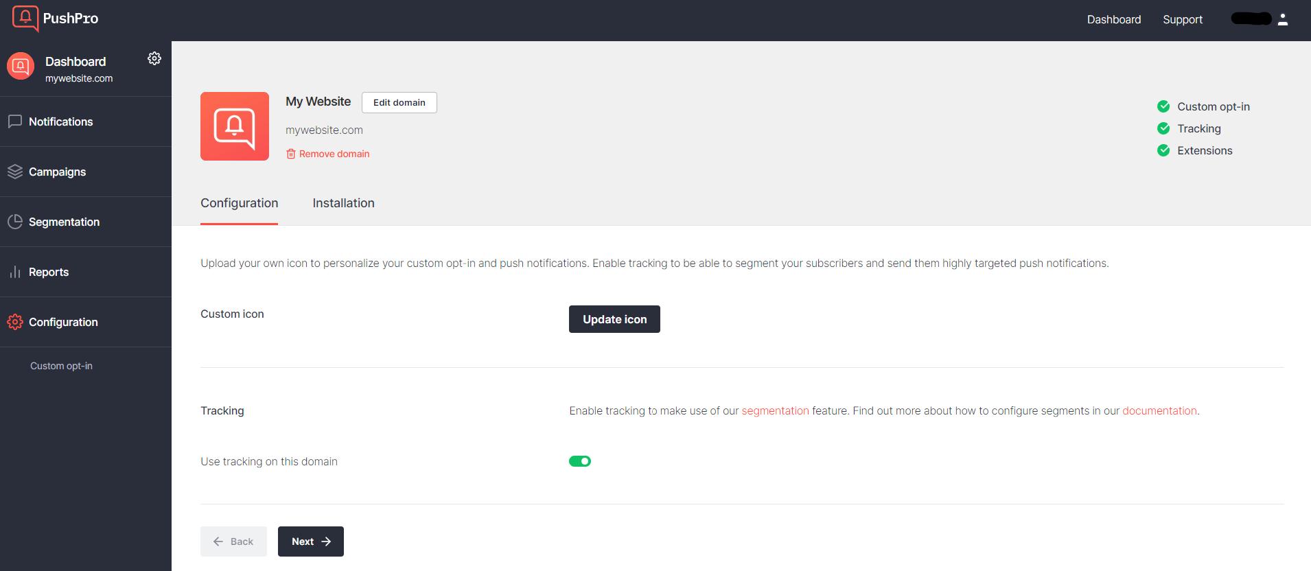 Screenshot of the domain edit settings in the PushPro portal