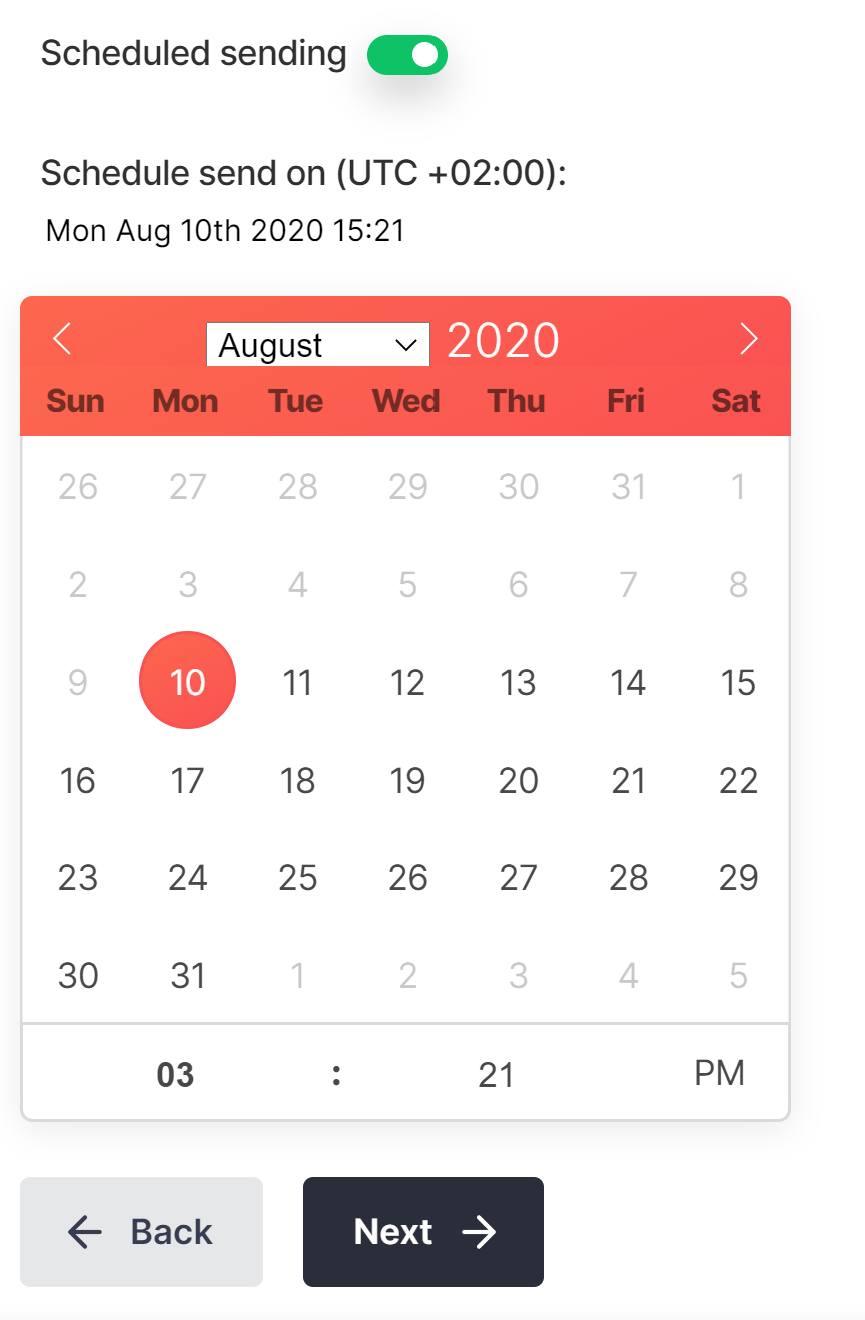 Screenshot of the scheduling setting in the PushPro portal.