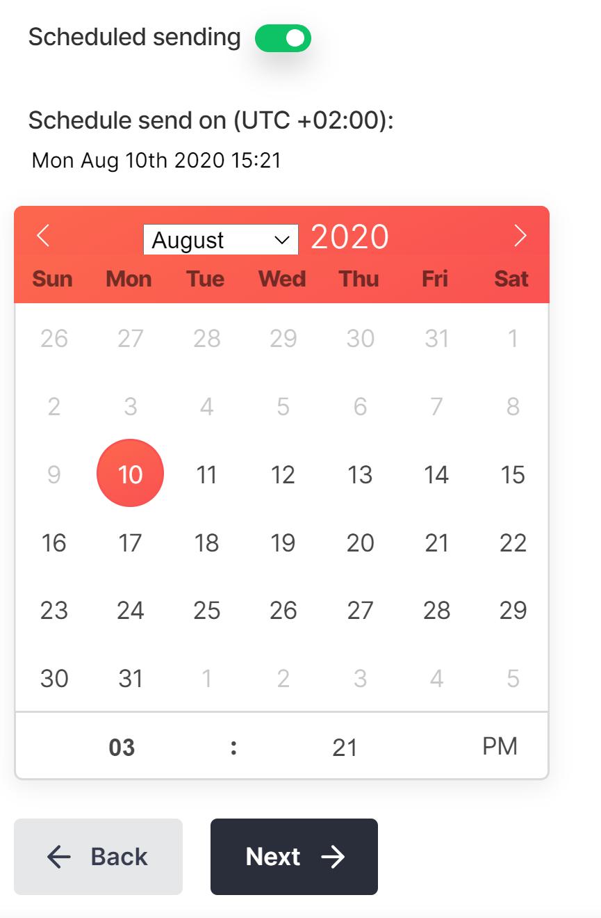 Screenshot of scheduling settings in PushPro portal