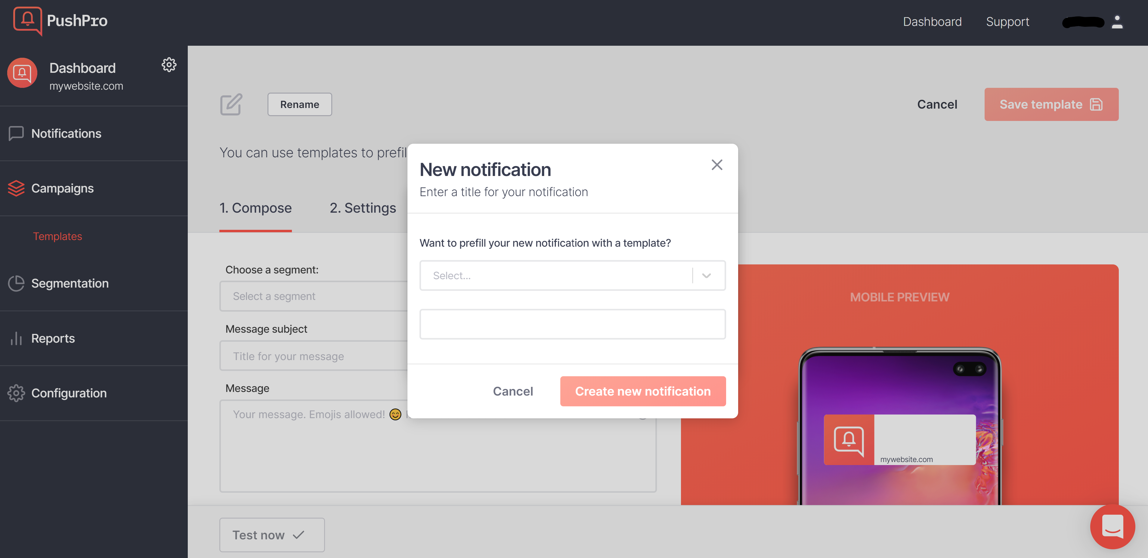 Screenshot of creating a notification template in the PushPro portal