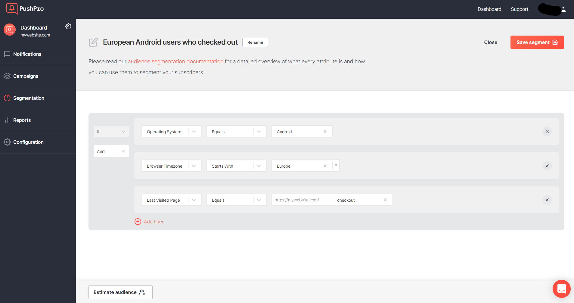 Screenshot showing where and how you can create segments in the PushPro portal