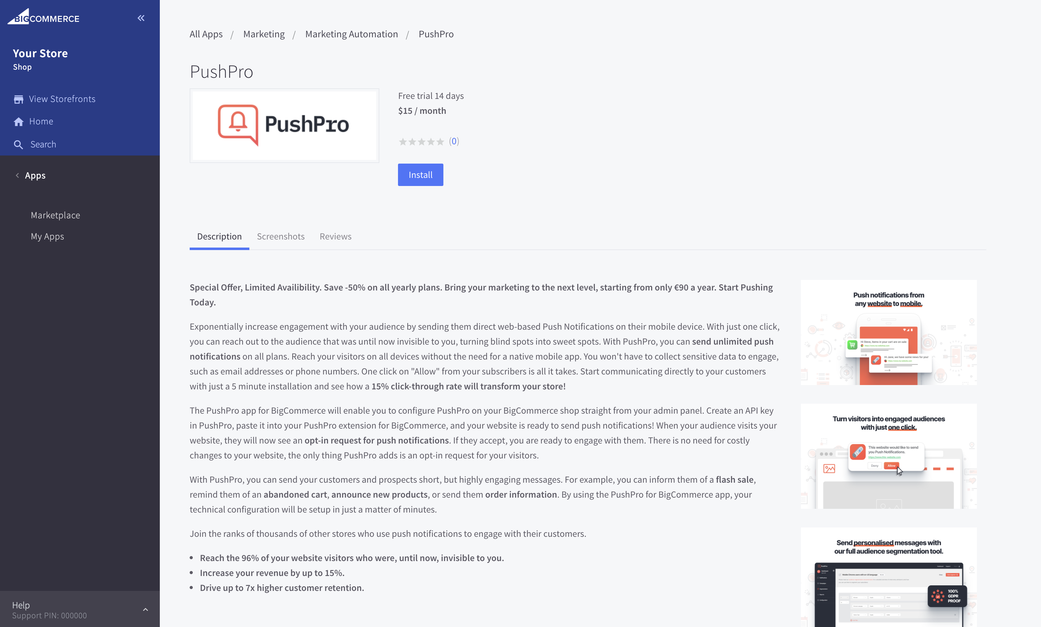 Screenshot of PushPro plugin within BigCommerce CMS