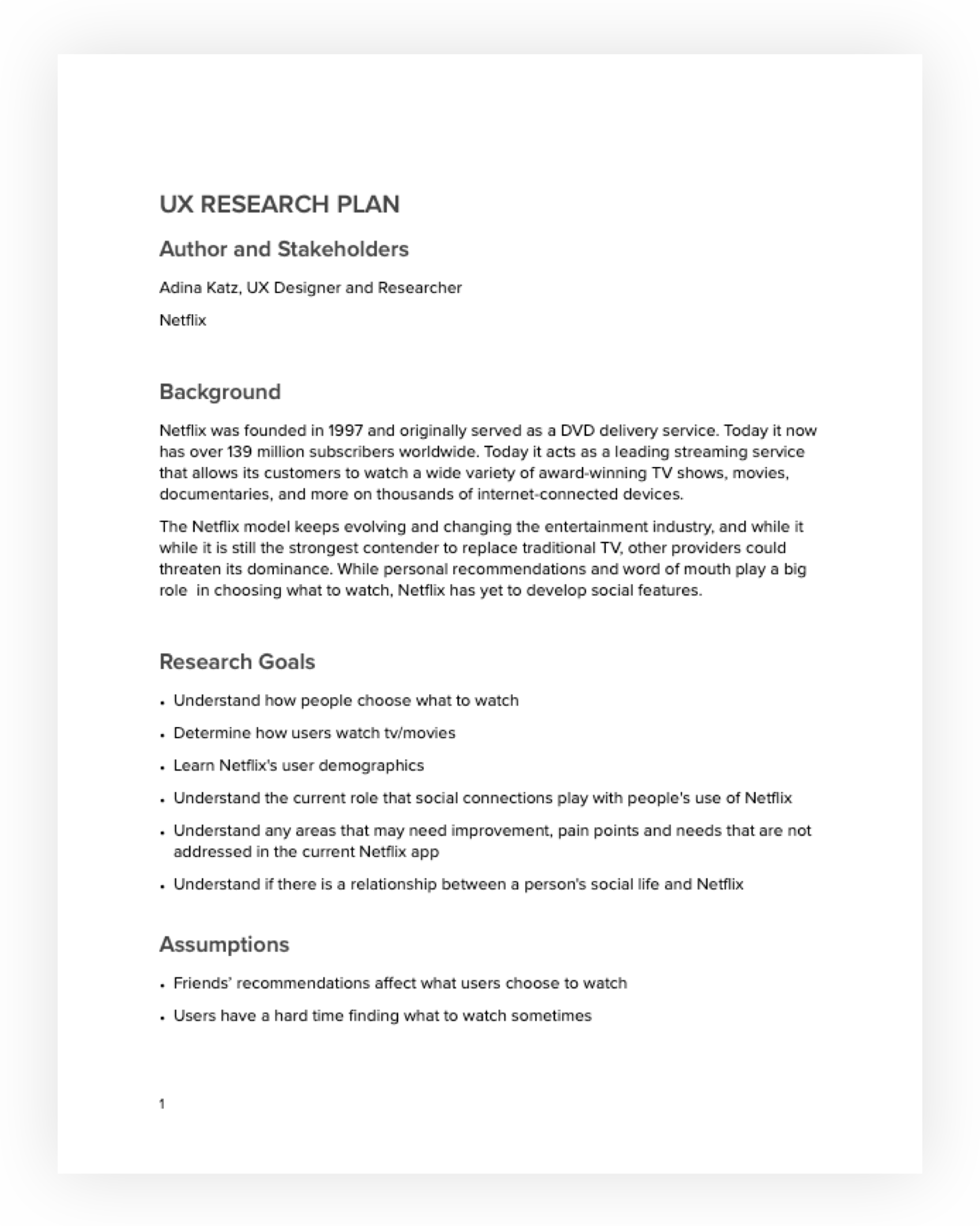 Research plan and competitor analysis