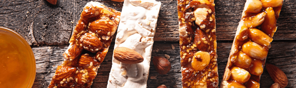 Closeup of candy bars with peanuts