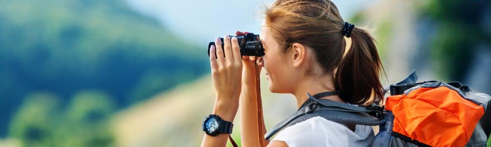 Girl on binoculars
