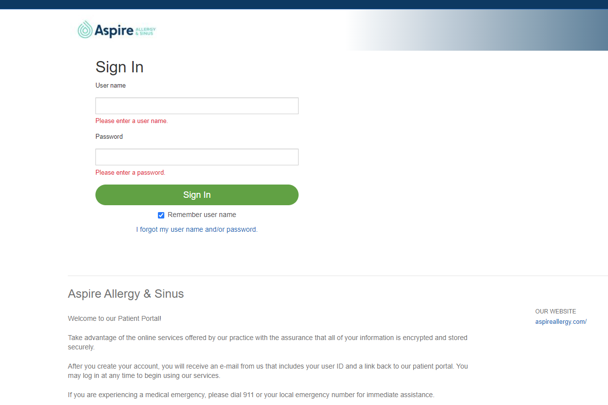 Image of patient portal log in page