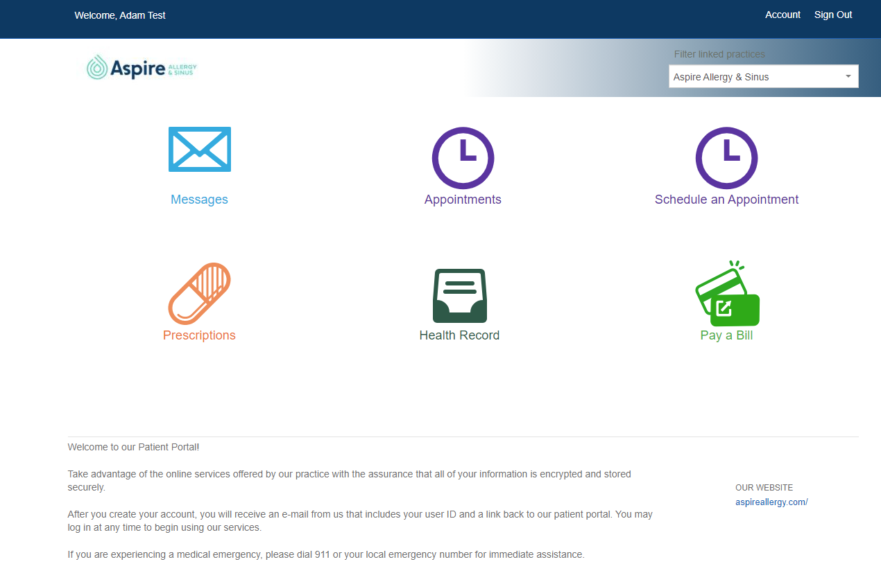 Image of patient portal dashboard