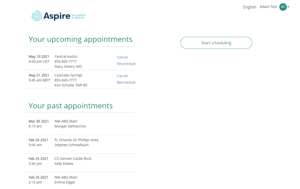 Image of patient portal appointments page
