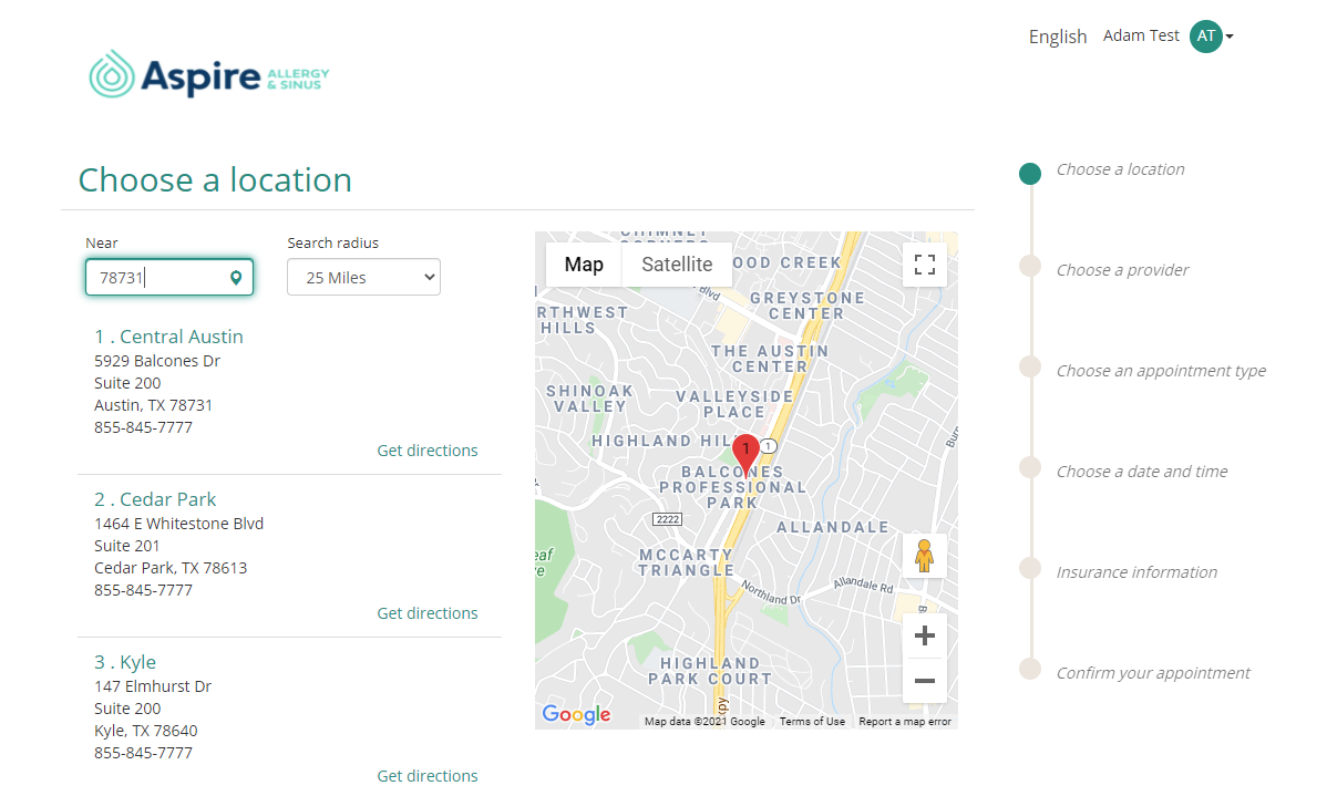 Image of patient portal locations page