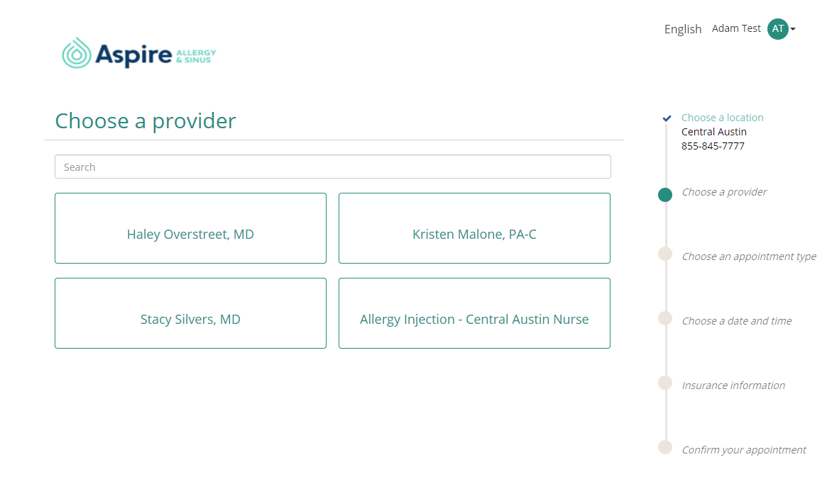 Image pf patient portal provider selection page