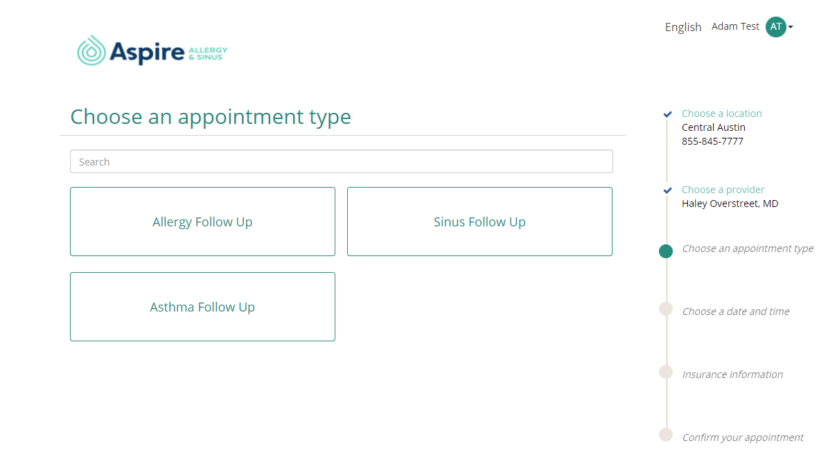 Image of patient portal appointment type page