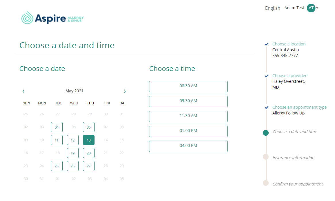 Image of patient portal appointment day and time selection option
