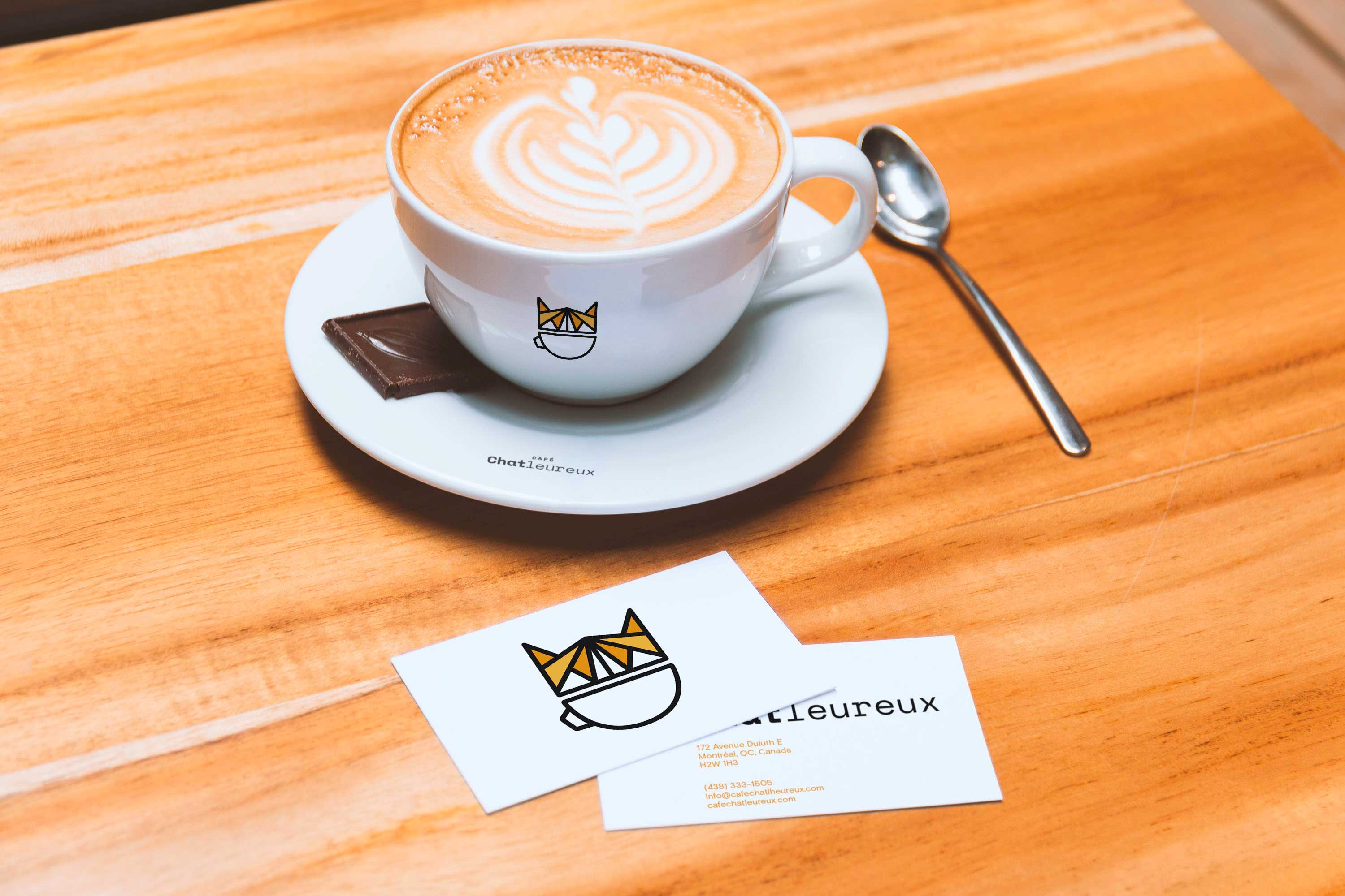cup and business cards