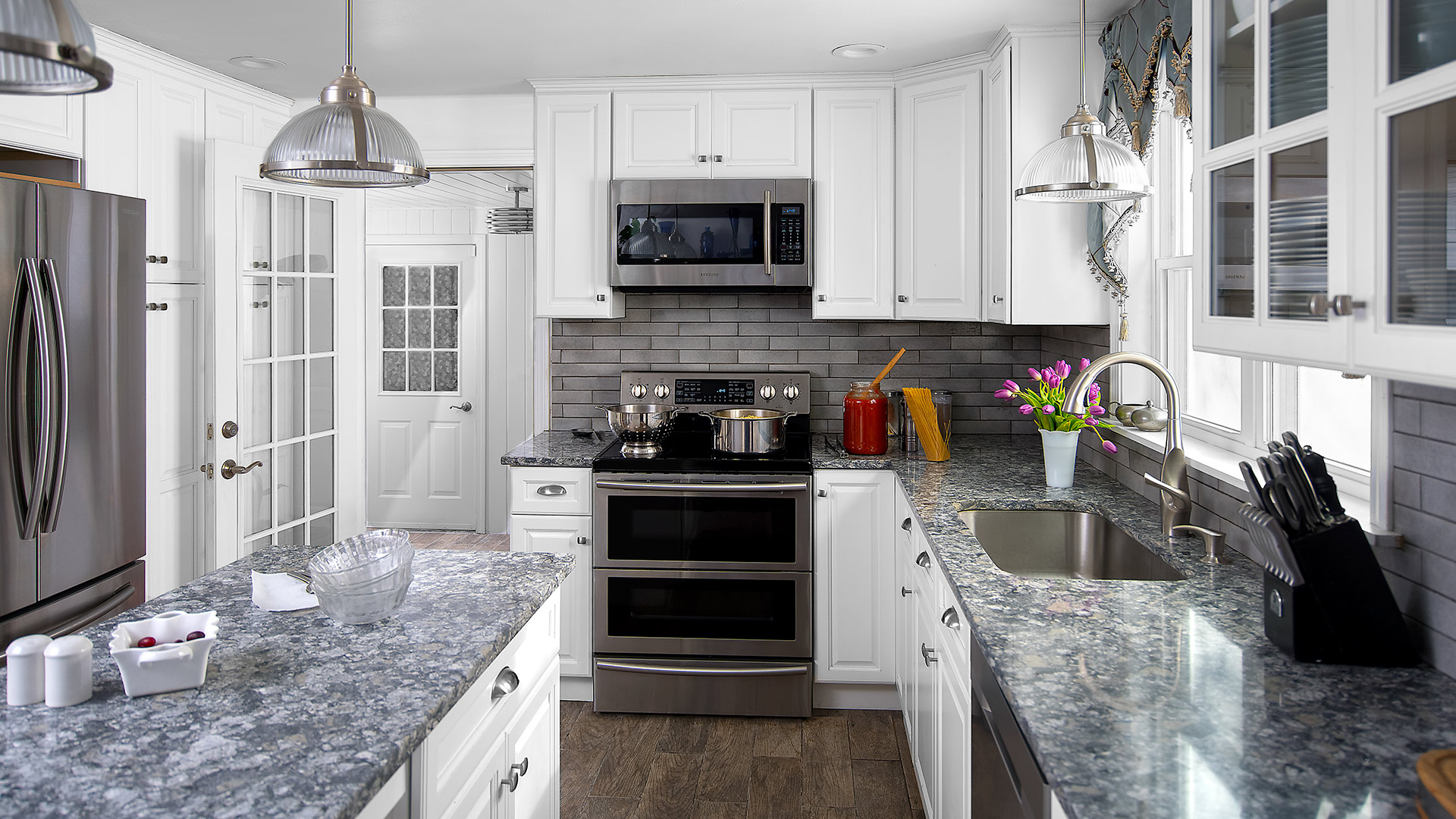 Choose Hallmark frost for a beautiful and bright white kitchen.