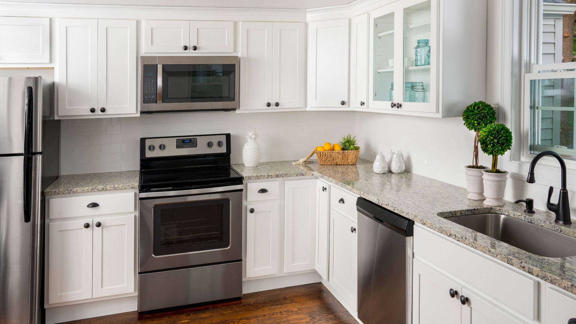 For an affordable white kitchen with popular shaker style cabinets.