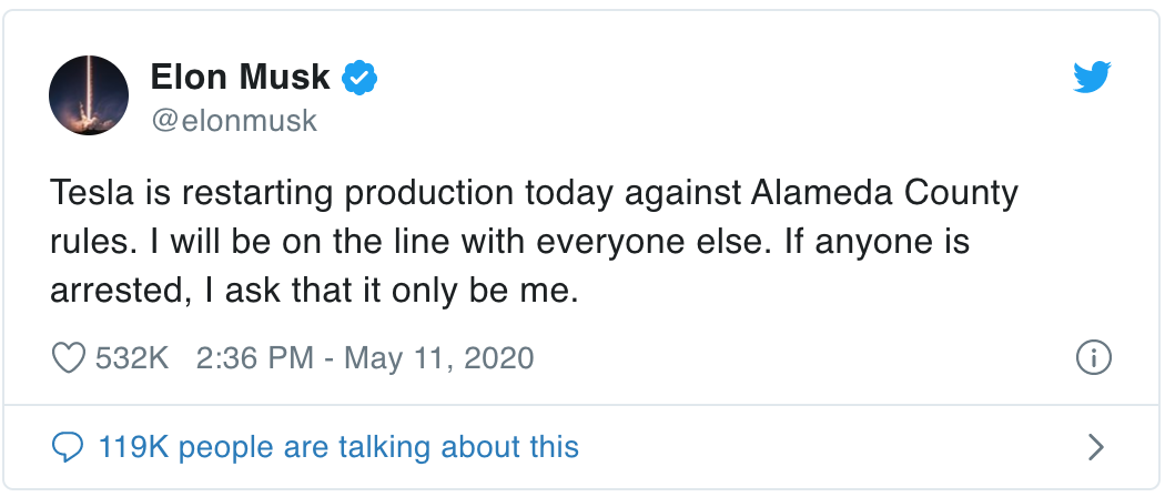 Tweet by Elon Musk about restarting production against Alameda County rules