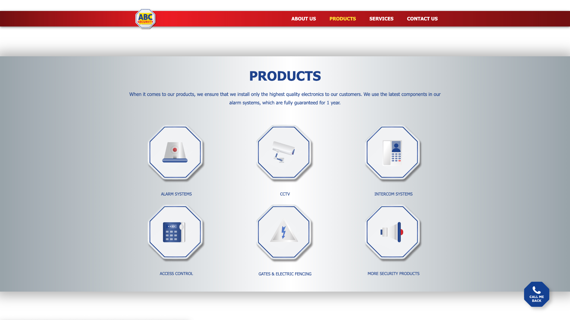 Products Page Design