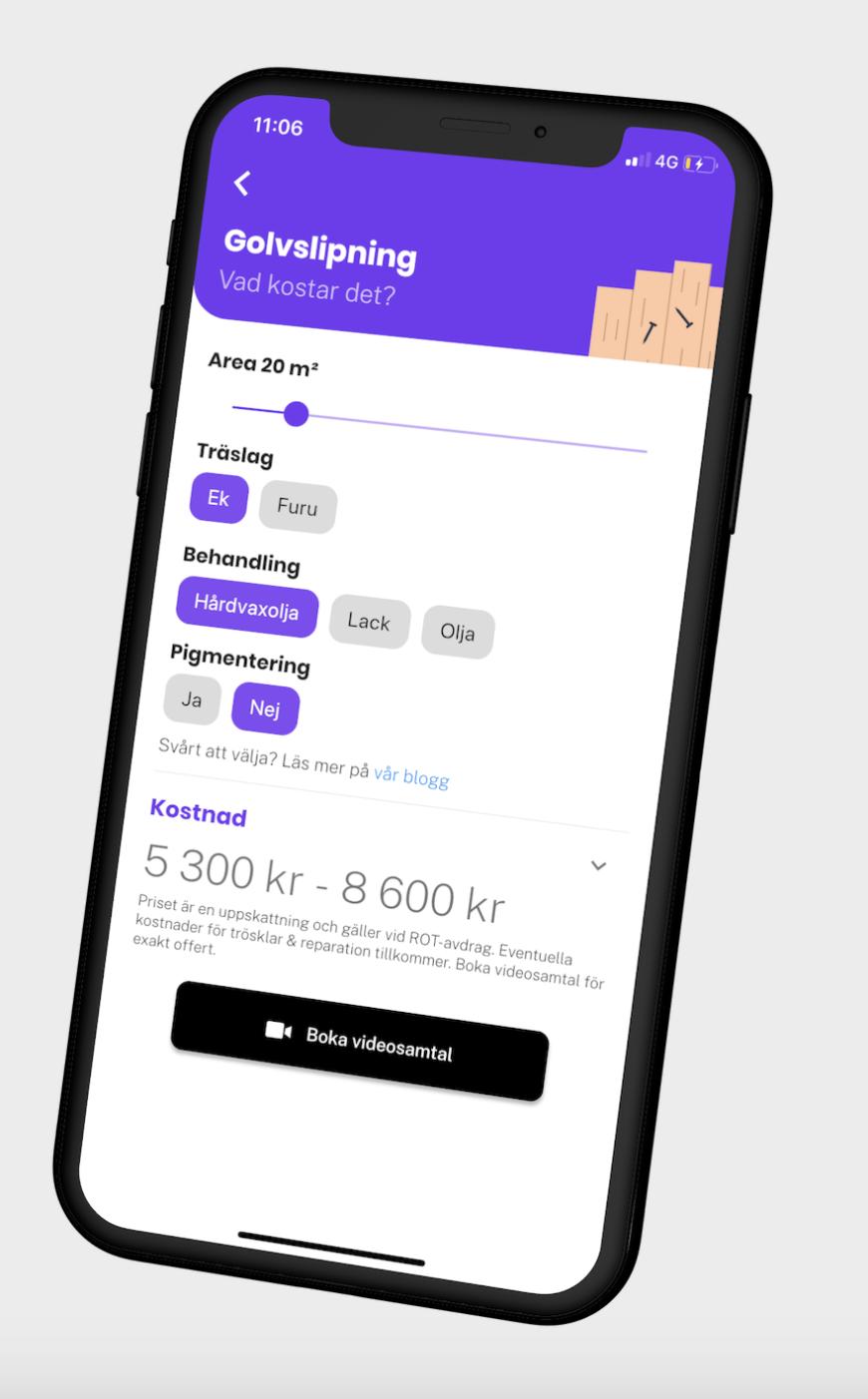 Boka golvslipning via Done - visar mobilapp