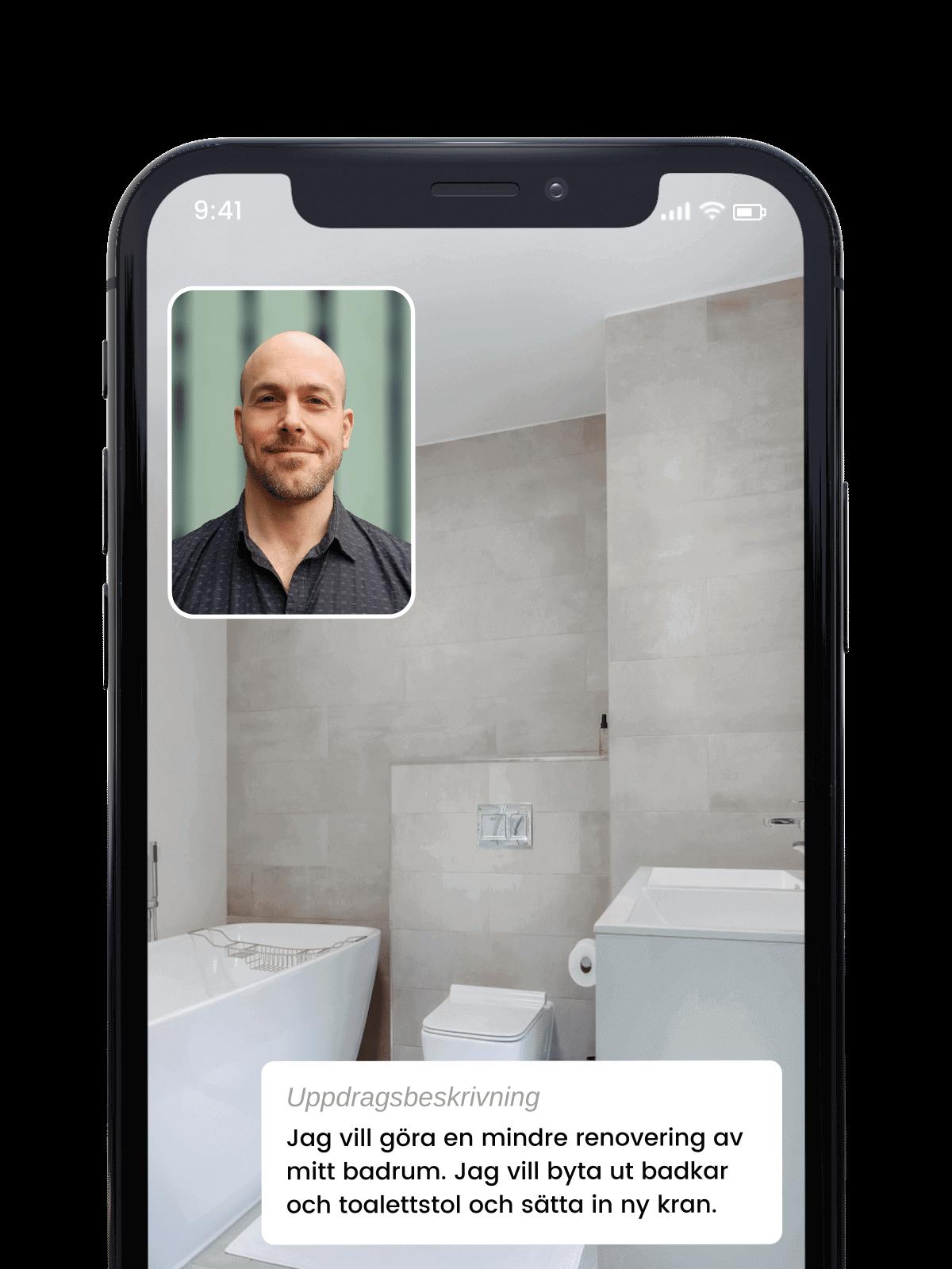 Videosamtal i Done-appen med rörmokare