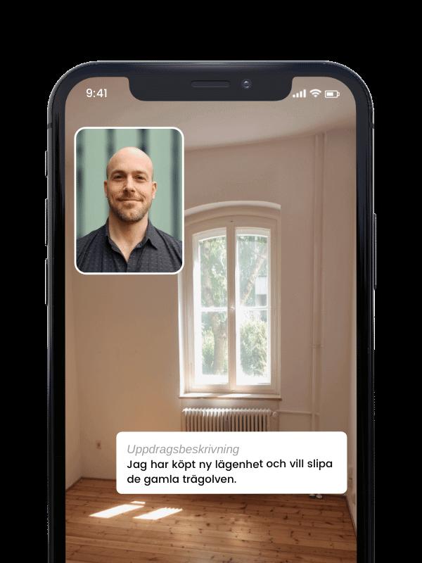 Videosamtal i Done-appen med golvslipare