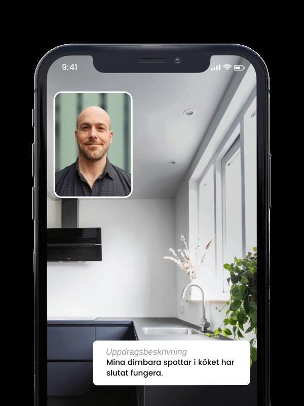 Videosamtal i Done appen med behörig elektriker i Malmö