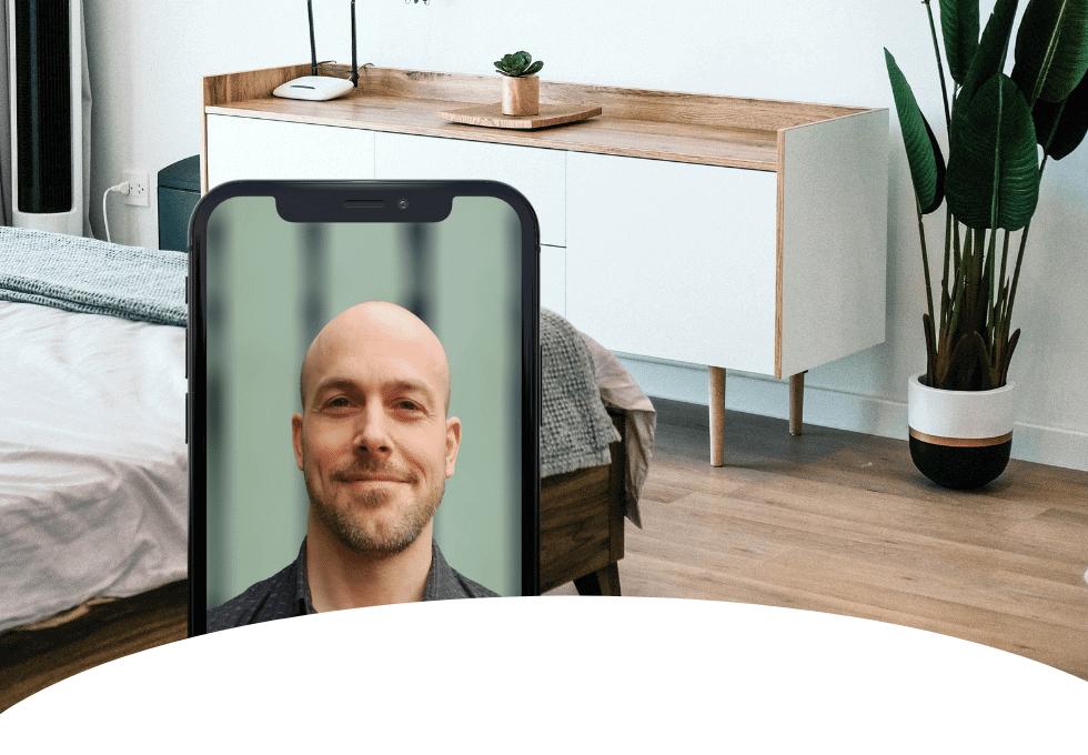 Videosamtal med kvalitetskontrollerad VVSare för offertkontrollerad golvslipare i Done appen