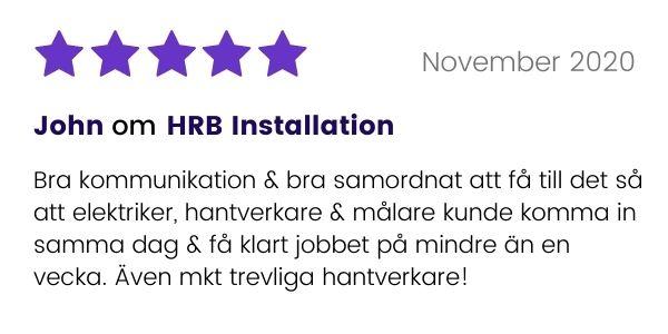 Omdöme från kund som använt HRB Installation via Done